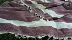 Burgundy Cotton blanket Woven blanket in Red Wine by CottonMood