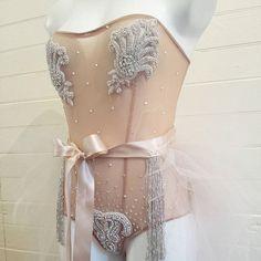 Nude crystal sheer burlesque/Bridal boudoir bodysuit with mini tutu custom sample