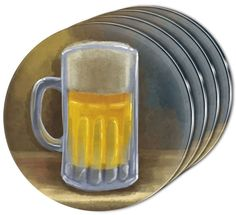 """Amazon.com: Custom & Cool {4"""" Inches} Set Pack of 4 Round Circle """"Flat & Smooth Texture"""" Drink Cup Coasters Made of Acrylic w/ Rustic Bar Beer German Ale Mug Design [Colorful Gray, Yellow & Tan]: Home & Kitchen"""