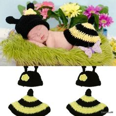 Infant New Baby Dress Costume Photography Prop Crochet Beanie Animal Hat Cap Set Crochet Baby Cocoon, Crochet Baby Shoes, Newborn Crochet, Crochet Beanie, Crochet Clothes, Crochet Hats, Crochet Baby Costumes, New Baby Dress, Animal Hats