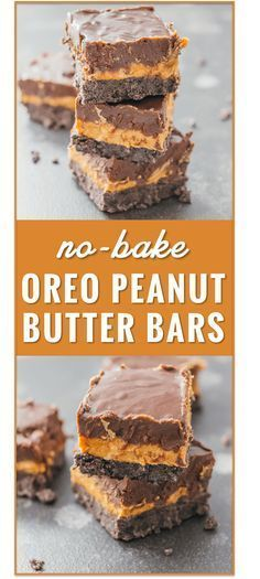 These nobake Oreo peanut butter bars with chocolate chips are an easy summertime dessert with three delicious layers recipe cream cheese healthy 6 ingredients squares oat. Brownie Desserts, Oreo Dessert, Dessert Bars, Mini Desserts, Coconut Dessert, Peanut Butter Desserts, Peanut Butter Bars, No Bake Desserts, Easy Desserts