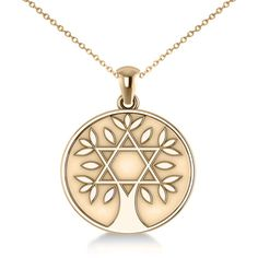 Allurez Jewish Family Tree Star of David Pendant Necklace 14k Yellow... ($850) ❤ liked on Polyvore featuring jewelry, necklaces, yellow gold necklace, 14k yellow gold necklace, 14k gold jewelry, gold jewelry and yellow gold pendant necklace