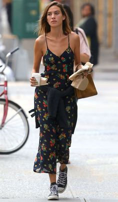Alexa Chung midi dress with high all stars.