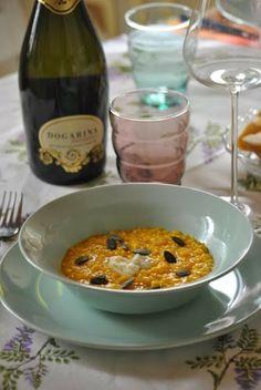 Dal blog Sorelle in pentola: Risotto alla zucca con gorgonzola e semi croccanti abbinato al DOGARINA Prosecco doc Treviso Millesimato extra dry 2012