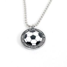 """""""I can do all things through Christ who strengthens me"""" soccer necklace. I want this but a softball instead of a soccer ball! That would be perffff! Soccer Guys, Youth Soccer, Soccer Stuff, Soccer Ball, Softball, Soccer Necklace, Team Gifts, Jewel Box, Ball Chain"""