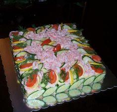 Μία υπέροχη τούρτα για το τραπέζι το πάρτη για τους φίλους μας για γενέθλια για γιορτές !! Greek Recipes, My Recipes, Cooking Recipes, Recipies, Dips, Sandwich Cake, Party Buffet, Salad Bar, Love Food