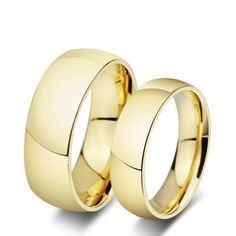 Caxybb 1 pair anel ouro gold plated alliance titanium steel wedding bands couples rings sets for men and women