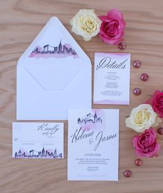 New York City Skyline wedding invitation handpainted with watercolors | Have your wedding city custom painted on your invitations! © Bohemian Mint