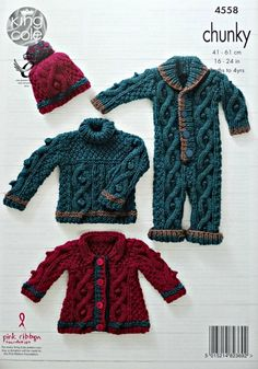 Baby Knitting Pattern Baby Cable and Moss Stitch Jumper, Onesie, Coat & Hat Knitting Pattern Chunky (Bulky) King Cole Chunky Knitting Patterns, Knitting For Kids, Knitting Ideas, Knitting Yarn, Crochet Patterns, Knitted Baby, Crochet Baby, Knit Crochet, Chunky Babies