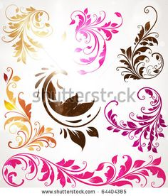 Vintage colorful design elements set for retro design. With leafs and flowers. by Ozerina Anna, via ShutterStock