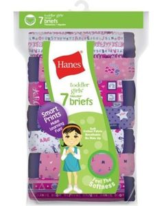 7 Pairs Hanes Tagless Toddler Girls Days of the Week Cotton Panties Briefs 2T-4T #Hanes #Briefs