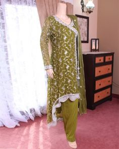 Mehndi Color Stylish Chiffon Dress
