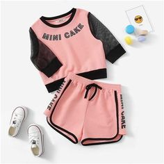 Girl's Pink Letter Print Eyelet Mesh Sleeve Waffle Top And Shorts Set - Cute Lazy Outfits, Crop Top Outfits, Kids Outfits Girls, Girls Fashion Clothes, Sporty Outfits, Teenager Outfits, Teen Fashion Outfits, Trendy Outfits, Cool Outfits