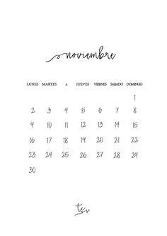 Calendario #imprimible noviembre