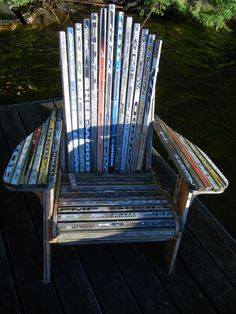 We had a very Canadian weekend on Canada Day. An Adirondack chair made of hockey sticks. Time spent on a fresh water lake in cottage. Stars Hockey, Hockey Mom, Hockey Stuff, Hockey Girls, Montreal Canadiens, Hockey Stick Crafts, Ice Hockey Sticks, Hockey Tournaments, Hockey Players