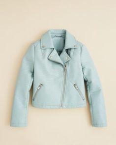 AQUA Girls' Pebbled Faux Leather Moto Jacket - Sizes S-XL | Bloomingdale's