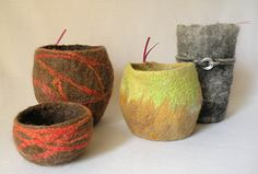 Vases and Vessels total of 4 FELTED with by eneefabricdesign