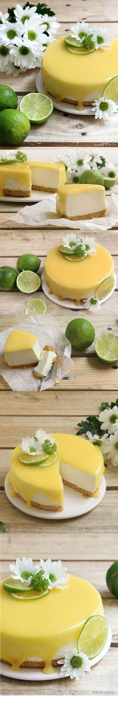 ( ^o^ ) cheesecake-lima-tarta-queso Just Desserts, Delicious Desserts, Yummy Food, Cheesecake Recipes, Dessert Recipes, Lime Cheesecake, Super Torte, Eat Cake, Love Food