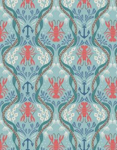 Lobster and Anchor on Aqua  A179.2  HARBOUR SIDE   by MoonaFabrics