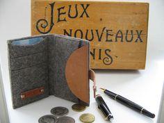 Minimalist Wool felt wallet coin wallet grey pocket por Ecolution