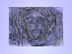 Pataki Tamás: Jézus 2013., papír, szén, pasztell, arany, 21x29 cm