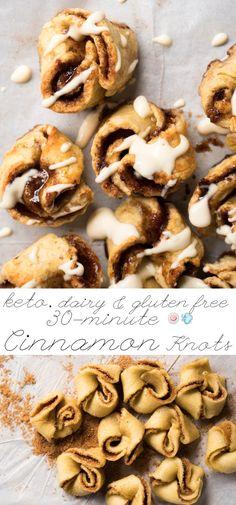 Gluten Free, Dairy Free & Keto Cinnamon Roll Knots ready in 30! #keto #ketodesserts #lowcarb #glutenfree #dairyfree #healthyrecipes #cinnamonrolls