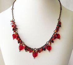 Beaded Valentine Necklace Cha-Cha Beaded by JewelryByCarlotta