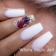 REPOST - - - - White Coffin Nails with Dried Flowers and Glitter - - - - Picture and Nail Design by White Nail Designs, Nail Designs Spring, Nail Art Designs, Nails Design, White Nails With Design, Nails With Flower Design, Nail Art Fleur, Nails Kylie Jenner, White Coffin Nails