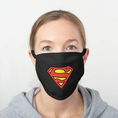 Superman S-Shield | Superman Logo Black Cotton Face Mask - tap, personalize, buy right now! #BlackCottonFaceMask #superman #afflink Superman Symbol, Superman Logo, Superman Gifts, Diy Face Mask, Face Masks, Fashion Face Mask, Health And Safety, Snug Fit, Black Cotton