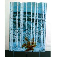 Blue Winter Aspens- by Dancing Light Fused Glass