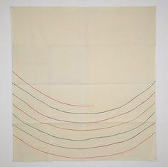 "Giorgio Griffa:  Dalla terra al cielo, 1979 Acrylic on canvas  93.5 x 88"" / 237.5 x 223.5 cm"