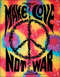 Make Love Not War Tie-Dye Tapestry, 40 in. x 45 in., SKU: 001160