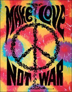 Make Love Not War Tie-Dye Tapestry, 40 in. x 45 in., SKU: 001160
