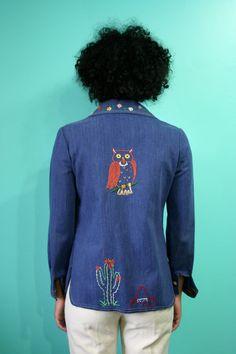 Vintage Embroidered Jacket / Owl Print / Lady Bug Print / Cactus Print / Stitched Pocket Jean Jacket / Dark Denim Shirt / Sombrero Print