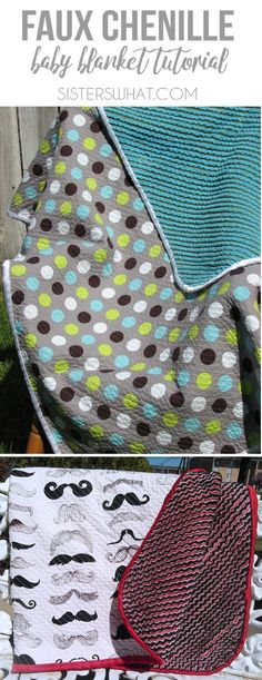 Faux chenille baby blanket sewing tutorial