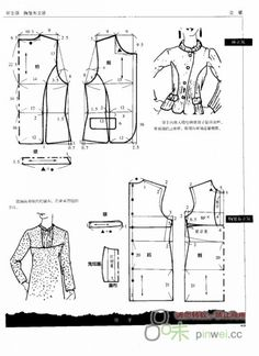 Shirt Bottom I (http:nelyager. Barbie Patterns, Coat Patterns, Clothing Patterns, Dress Patterns, Sewing Patterns, Collar Pattern, Jacket Pattern, Top Pattern, Techniques Couture