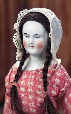 View Catalog Item - Theriault's Antique Doll Auctions German Porcelain Lady Doll with Wig - circa 1880