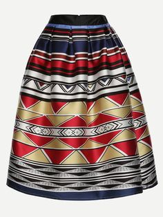 Shop Multicolor Geometric Print Box Pleated Midi Skirt online. SheIn offers Multicolor Geometric Print Box Pleated Midi Skirt & more to fit your fashionable needs.