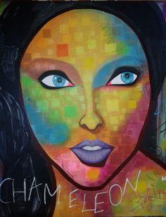 Chameleon by:STEFANO acrylic on canvas fashion art Linda Evangelista Girls Clips, Linda Evangelista, Acrylic Colors, Chameleon, Face Art, Portrait, Fashion Art, Mona Lisa, Clip Art