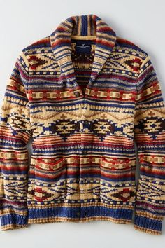 AEO Shawl Cardigan Sweater in Oatmeal Aztec Print Cardigan, Tribal Sweater, Men Sweater, Hippie Style, Mens Dressing Styles Casual, Blue Long Sleeve Shirt, Shawl Cardigan, American Eagle Men, Mens Outfitters