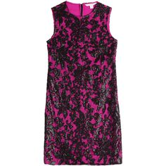 Diane von Furstenberg Sequined Lace Dress ($575) ❤ liked on Polyvore featuring dresses, pink, lace cocktail dress, purple lace cocktail dress, shift dress, pink lace dress y sequin party dresses
