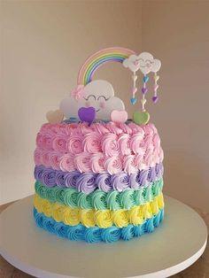 Baby Girl Birthday Theme, Candy Theme Birthday Party, Rainbow First Birthday, Cute Birthday Cakes, Beautiful Birthday Cakes, Birthday Parties, Baby Cakes, Baby Shower Cakes, Instagram
