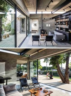 The main living area of this modern house is open to the yard, and the raw concrete compliments the black metal work in the beams and the built-in bookshelf. The thin concrete roof hovers above the living space, while small windows provide a constant glimpse of the sky, even when inside.