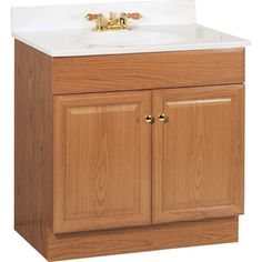 $132.05 Project Source 31-in x 19-in Oak Integral Single Sink Bathroom Vanity with Cultured Marble Top