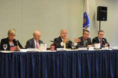 The Massachusetts Gaming Commission, from left, Gayle Cameron, Lloyd MacDonald, Stephen Crosby, Enrique Zuniga and Bruce Stebbins, is shown holding public deliberations on Wednesday afternoon, April 27, 2016, at The Shaw's Center. — Marc Vasconcellos/The Enterprise