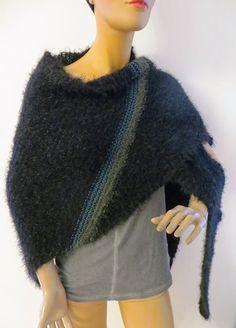 Microfaser, Merino, Kidmohair, handmade Colours, Winter, Handmade, Black, Fashion, Ponchos, Scarf Crochet, Handarbeit, Breien