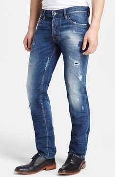 $590, Blue Ripped Jeans: Dsquared2 Slim Fit Distressed Jeans. Sold by Nordstrom. Click for more info: https://lookastic.com/men/shop_items/38079/redirect