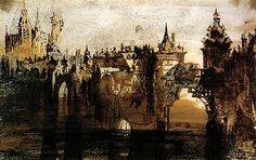 Town with a Broken Bridge (graphite, Indian ink and sepia on paper) by Victor Hugo Fine Art Prints, Canvas Prints, Framed Prints, Black Crayon, Mobile Art, Sculpture, Art Plastique, Photographic Prints, Illustrations