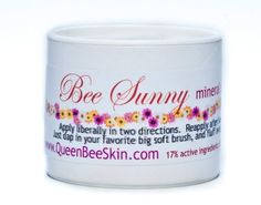Bee Sunny SPF 35 Mineral Powder Sunscreen Zinc Oxide & Titanium Can by Queen Bee Organic Skin Care, http://www.amazon.com/dp/B004OA0872/ref=cm_sw_r_pi_dp_d7GXrb1J0YE8A
