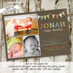 baby boy birth announcement with photo printable by katiedidesigns, $15.00